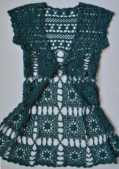 Crochet excepcional: notas y cartas de largo chaleco de ganchillo gratis.