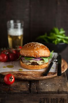 a vegetarian burger with mushrooms roasted in pesto