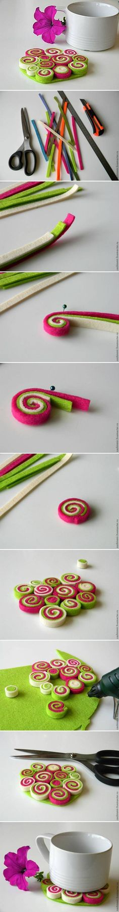 DIY Felt Coaster idea, manualidad, crafti, diy crafts, diy felt, beauti tablemat, felt coaster, feltro, coaster diy