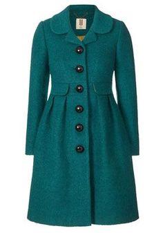 teal coat, jacket, turquois coat, boucl coat, closet