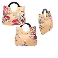 Handbag, cotton, beige with floral motif, 14-1/2 x 13-3/4 x 2-1/2 inches with double acrylic handles. Sold individually.