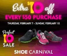 Shoe Carnival $10 off $50 Printable Coupon