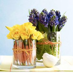 Unique Spring Ideas with Vegetables | Veggie Lined Floral Vases | courtesy of www.bhg.com