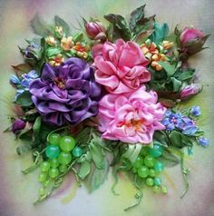 ribbonwork, silk ribbon, grape flower, ribbon embroideri, ribbon work, ribbon flower