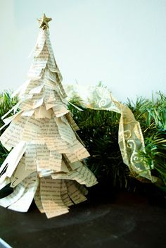 Easy and cute, vintage Christmas tree craft using a Dollar Tree ornament and an old book! Would look great on a tablescape or mantel!
