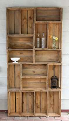 diy bookshelf made from apple crates.