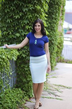 The right pencil skirt is an essential part of every girls closet! Ultra-stretchy, SOFT sculpting fabric. Unique striped paneling sets this apart from your normal skirt. The elastic waistband gives you room to move and stay comfortable. Perfect to mix with floral, blouses, tees, etc.Pencil You In - #stripedpencilskirts pickyourplum.com