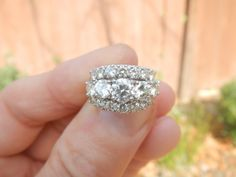 Super blingtastic but like shape and the wide/low profile. Also great quality/value at 3 carrots. Stunning Vintage 14kt Gold 3Row Diamond by PattisCreationsNMore, $4650.00