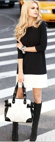 black n white, leather skirts, white style, outfit, black boots, the dress, street styles, black white, city style