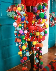Pom Pom Garland. Our new favorite wild & wacky Christmas tree decoration from Aunt Peaches!