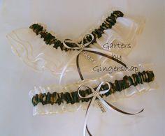 Military Ivory & Camo Bridal Garter Set