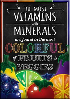 Micah T., Santa Clara University created this great poster for Student Health 101 - get your vitamins from colorful fruits and veggies.