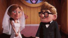 Ellie and Carl on their wedding day