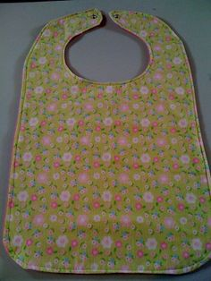 Flowered Green with Pink Flannel Adult Bib by StarBoundWestern, $16.00