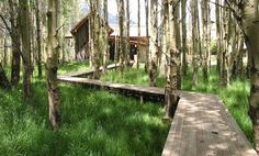 The softness of the meadow goes so well with the zigzag lines of this raised pathway. By Hershberger Design in WY.