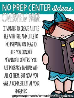 Ginger Snaps: No Prep Center Ideas Freebie
