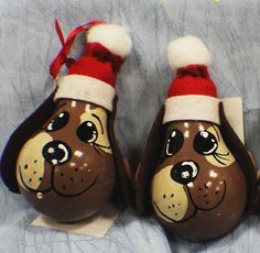 Handpainted Puppy Dog Christmas Ornament