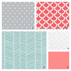 10% OFF SALE-Custom Crib Bedding-3 piece-Coral, Aqua and Grey. OMG THIS IS IT!!! The PERFECT beautiful bedding!!! :) LOVE the patterns.