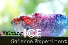 Melting ice science experiment for kids :: use color to highlight tunnels and crevasses in the ice created by salt