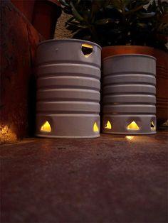 DIY outdoor coffee can lanterns