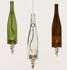 wine bottle crafts, lantern, bottle lights, candle holders, drink, wine bottle lamps, glass, recycled wine bottles, tea lights