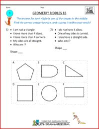 Geometry Riddles 1B, 1st grade geometry puzzle