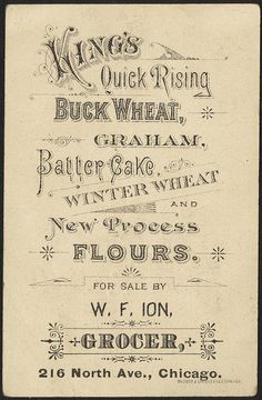 King's quick rising flours - buckwheat, batter cake, graham, new process winter wheat [back] by Boston Public Library, vintage ad