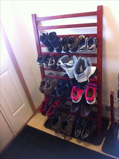 Getting rid of an old crib? Think again. Repurpose the sides into a shoe rack