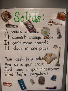 school, kindergarten poetry, science posters, anchor charts, solid liquid gas anchor chart, states of matter, teach, first grade, kid