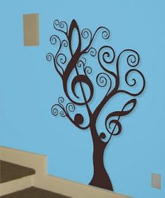 yes! for when I have an advanced art student from the HS come over and paint the 'music tree' mural! wall art, music mural, wall decals, decorating ideas, a tattoo, music rooms, tree murals, music tree, craft rooms