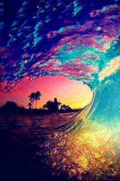 Rainbow ocean wave