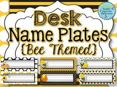 Name Plates {Bee Themed} These desk name plates will look darling in your classroom! This set contains 12 different desk plate styles printed two to a page. Simply print the number you will need for your students. I recommend printing on card stock and laminating so they withstand the year better. Cut in half, and add your students names, and you are ready to go! #bts2014 $