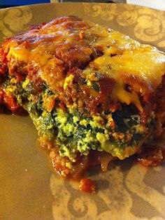 Zucchini and Spinach Lasagna with a Spicy Meat Sauce | Satisfying Eats