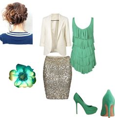 Navy & Mint + Cream + Silver sequins--Love these colors even though the blue is probably unintentional