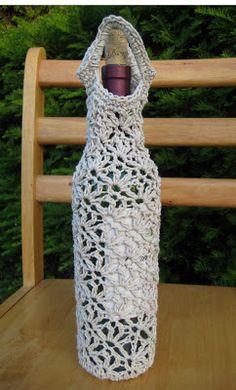 Beautiful #crochet #bottle holder ~ sweet inspiration!