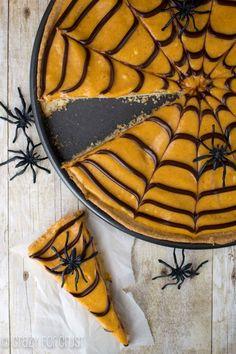 Pumpkin Spice Spiderweb Cookie Pizza with pumpkin spice frosting!