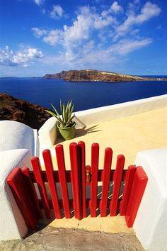 Red Gate, Blue Water, Santorini, Greece.