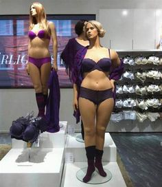 Yay!  It always cracks me up to see a stick manniquin where the clothing is pinned together at the back because they don't actually have a size to fit the tiny thing!  ( This photograph of mannequins has gone viral. )