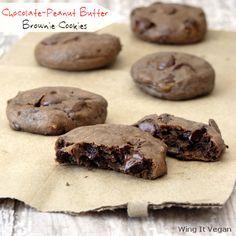 Chocolate-Peanut Butter Brownie Cookies. It's vegan?? Yesssss:OOOO