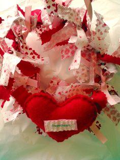 Valentine Wreath Scrap Fabric Heart Ornament Felt
