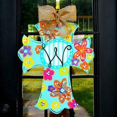 Door Hanger: Cross, Summer Wreath, Wall Cross, Hand painted wooden cross, Summer Door Hanger via Etsy