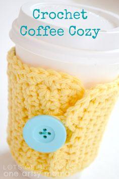 Crochet Coffee Cozy | One Artsy Mama