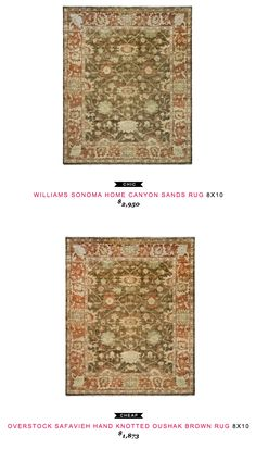 Williams Sonoma Home Canyon Sands Rug 8x10 $2950 vs Overstock Safavieh Hand Knotted Oushak Brown Rug 8 x 10 $1873