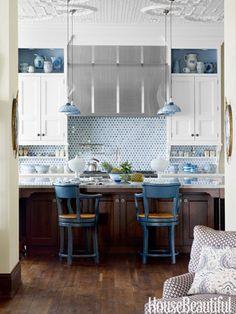 blue mercury glass pendant lights #blueandwhite #kitchen #tilebacksplash #interiordesign #homedecor #kitchenisland #mercuryglass #pendantlamps #housebeautiful