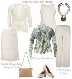 Cream Chiffon Evening Trousers Ivory Skirt and Matching Lace Top