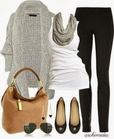 Grey handwoven cardigan, white blouse, grey scarf and black leggings fall combination
