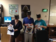 Brown County Central Library celebrates Batman Day! (Plus check out those awesome book covers on the wall :))