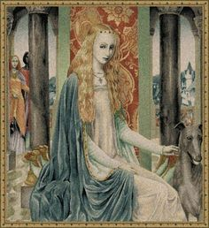 lady owein medieval tapestry wall hanging - beautiful woman portrait