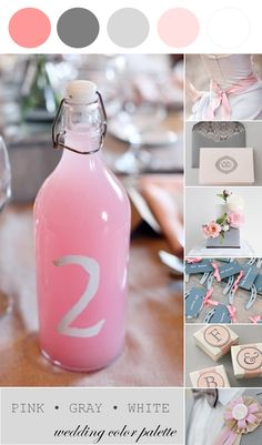 Wedding Color Palette | Pink, Gray and White - to see more: http://www.theperfectpalette.com/2014/03/wedding-color-palette-pink-gray-and.html