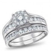 NK Mosaic Diamond Collection, 14K White gold Bridal Set, 1.00 ctw.